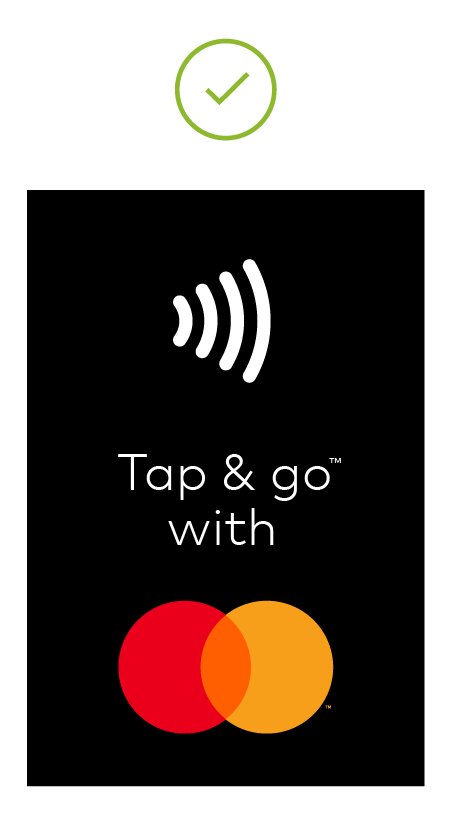 Image of black Tap & Go decal sticker vertical