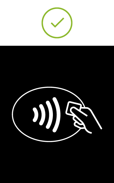 Image of white EMV Contactless Symbol