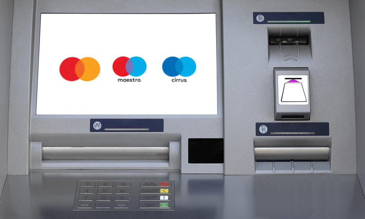 Image of Mastercard brands on an ATM screen