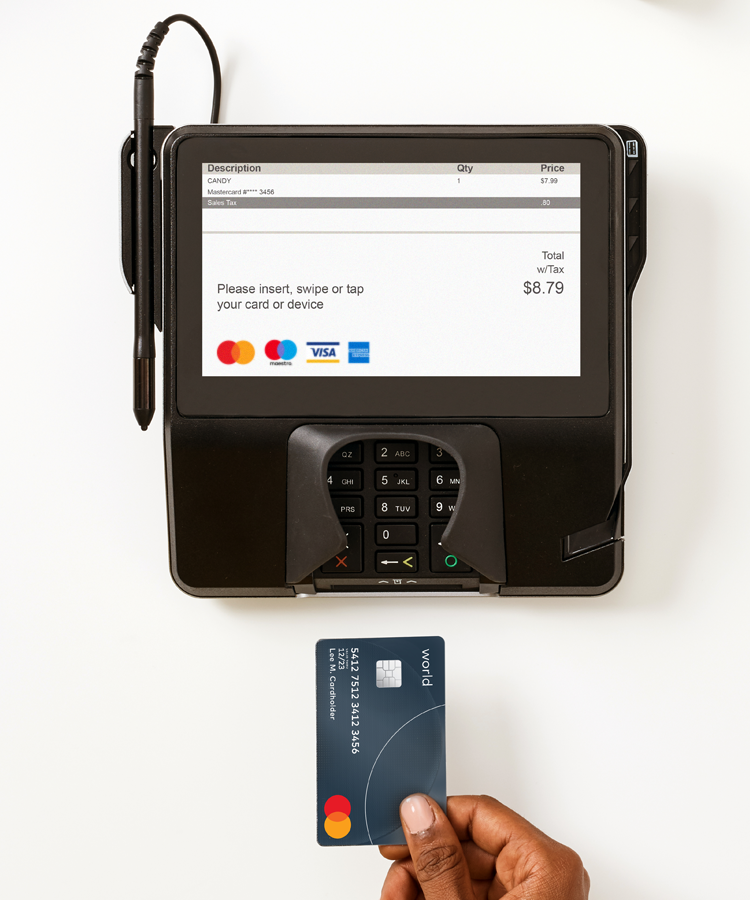 Image of Mastercard brand at a checkout terminal