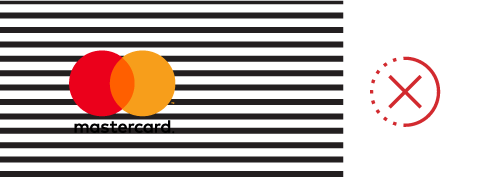 Image of insufficient background contrast for the Mastercard logo