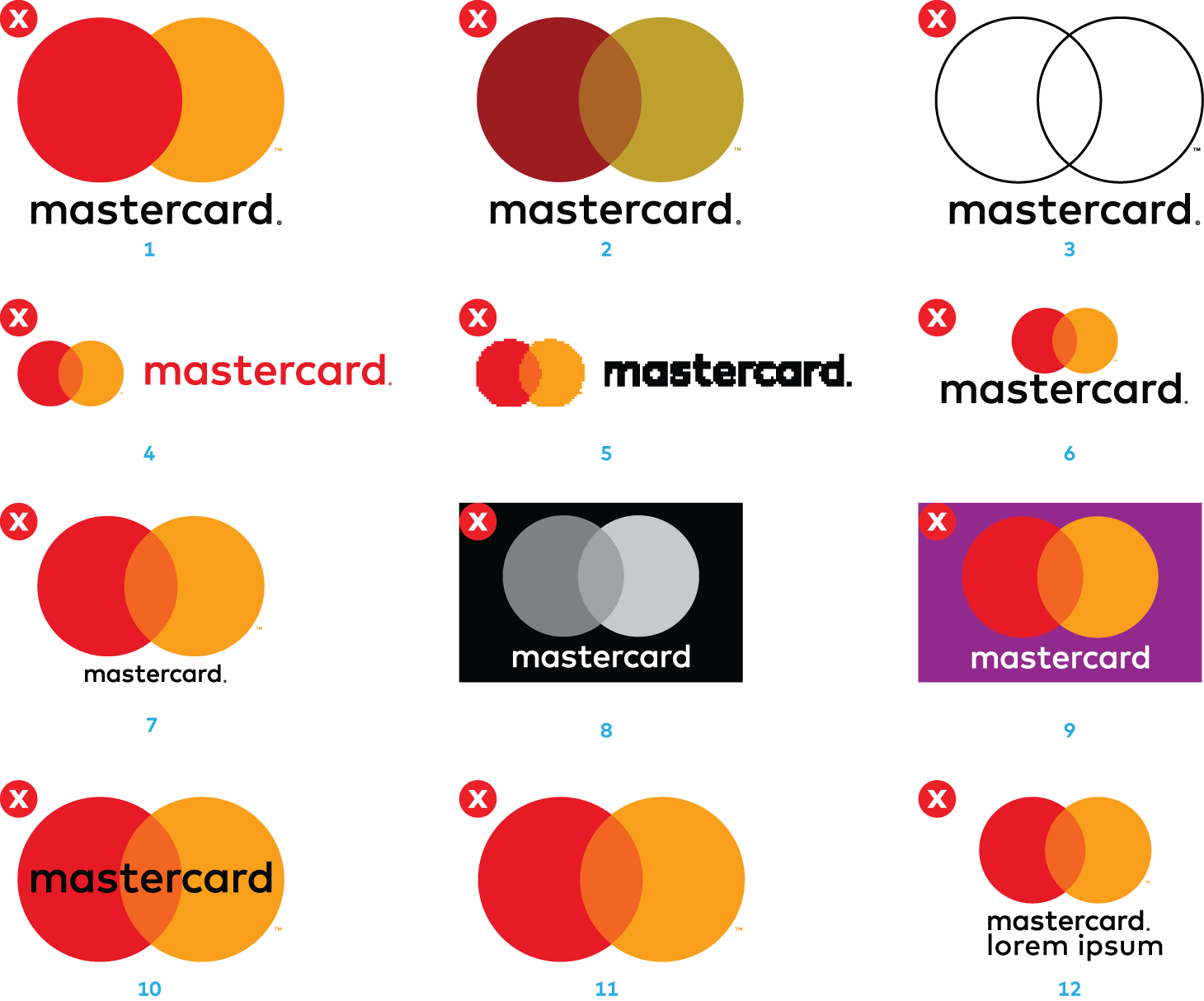 Images of incorrect uses of the Mastercard logo