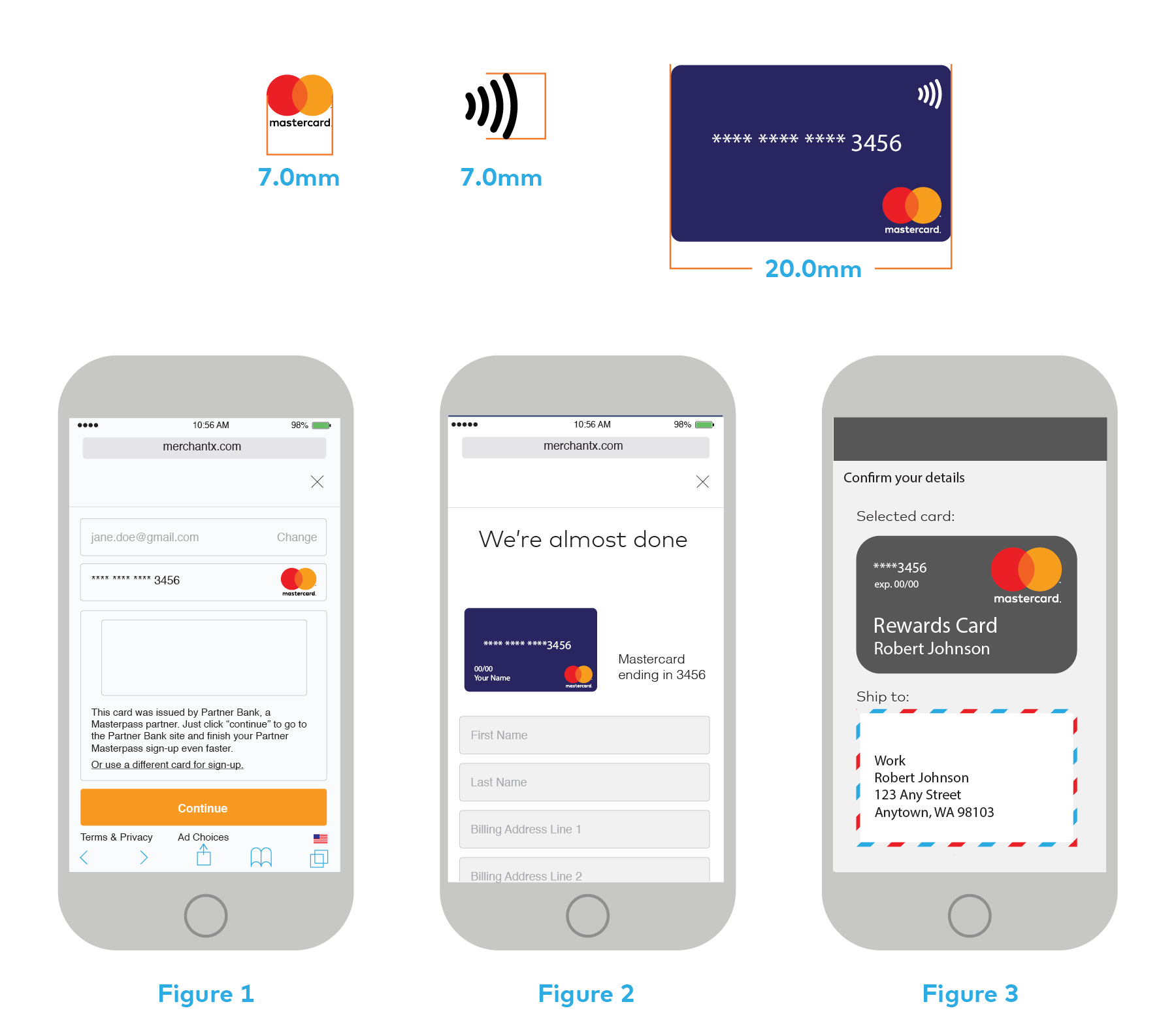 Images of using the Mastercard logo in digital applications such as a digital wallet