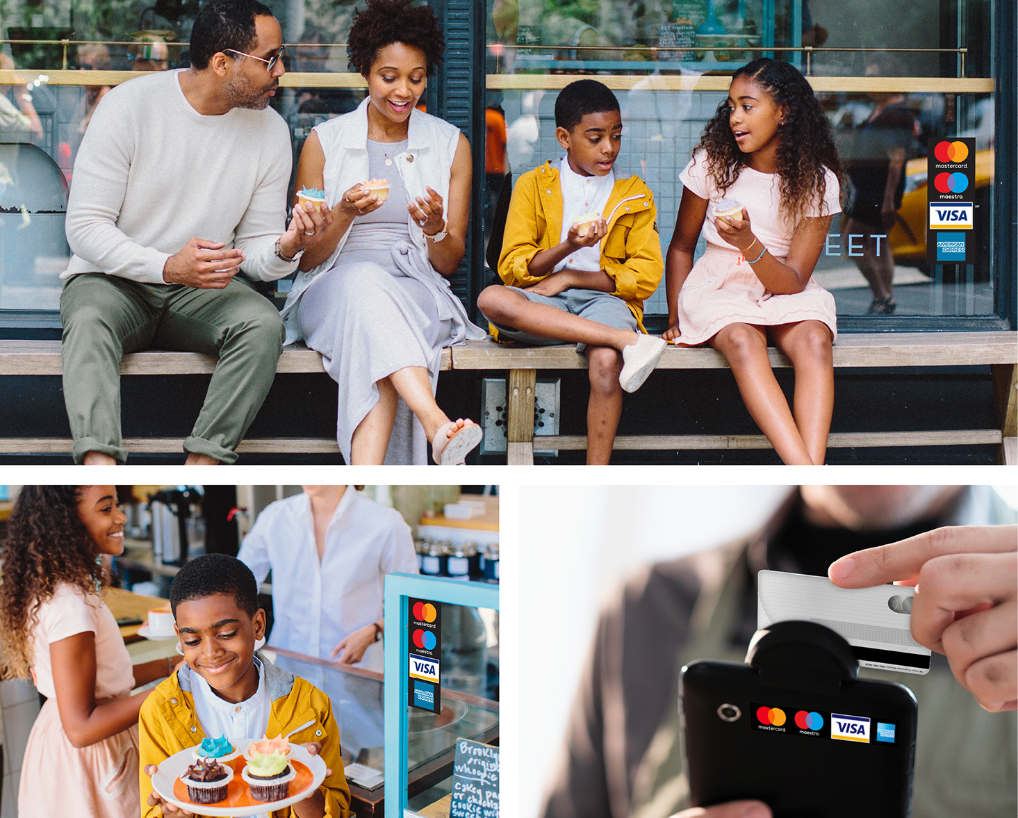 Images of using a Mastercard decal on a merchant window and payment terminal