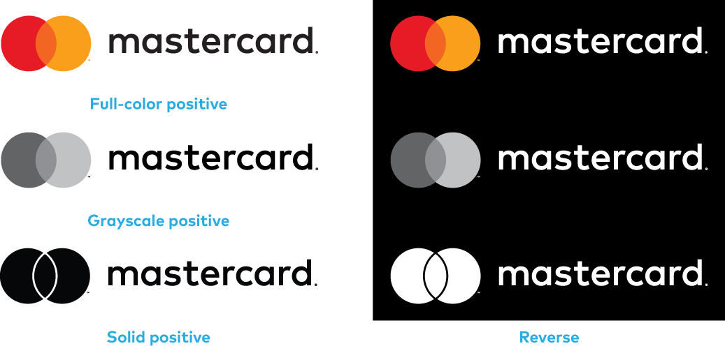 Images of color versions of the horizontal Mastercard logo