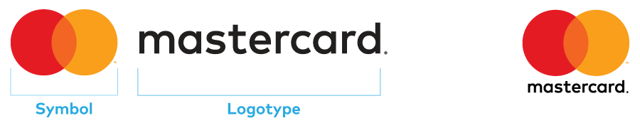 Images of horizontal and vertical Mastercard logos