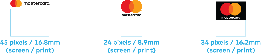 Images of minimum size specifications for the horizontal and vertical Mastercard logos