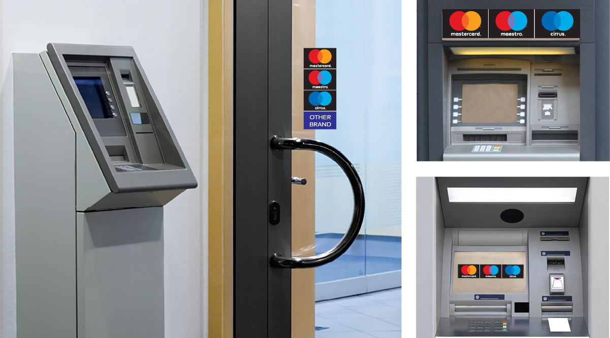 Images of the Mastercard logo used at ATMs