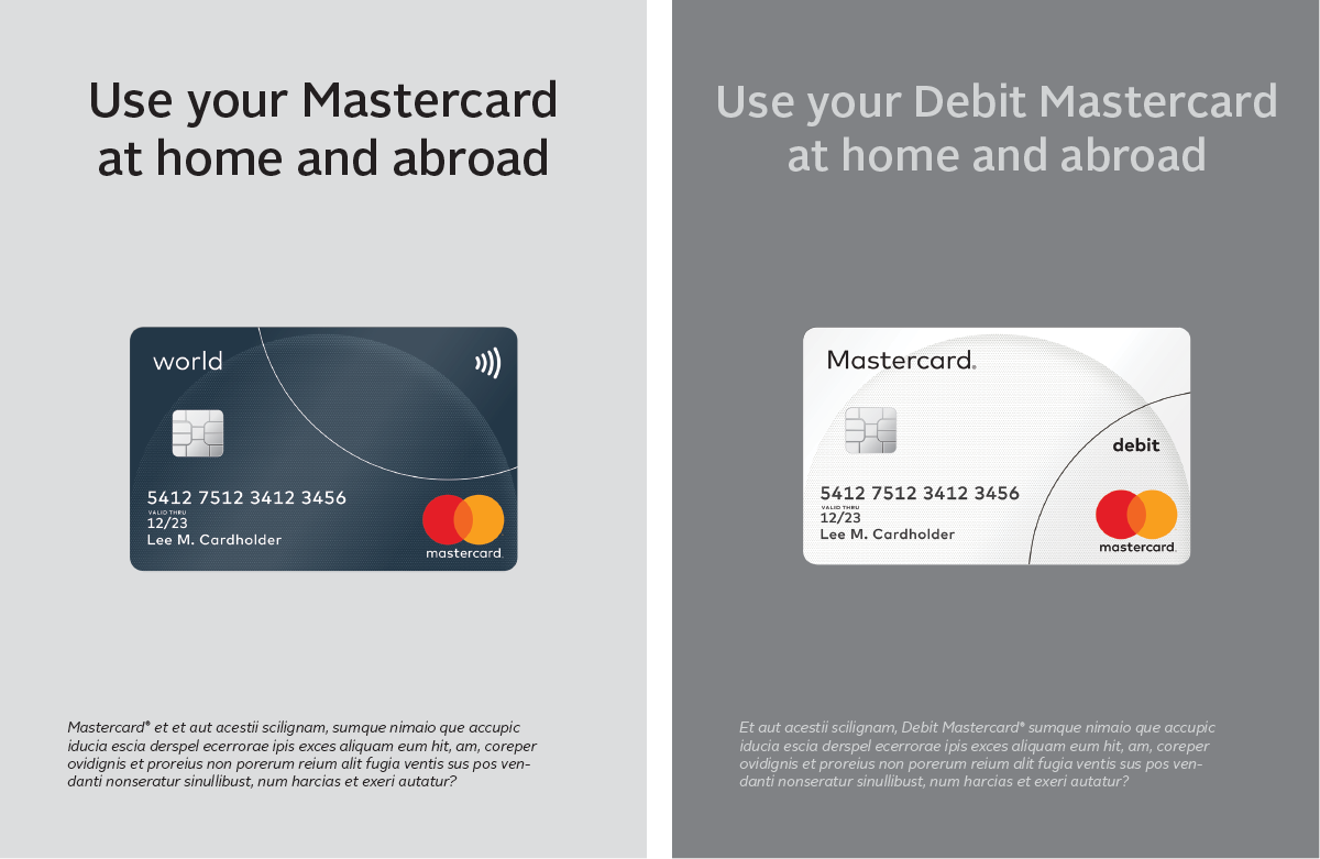 Image of the Mastercard cards in marketing communications