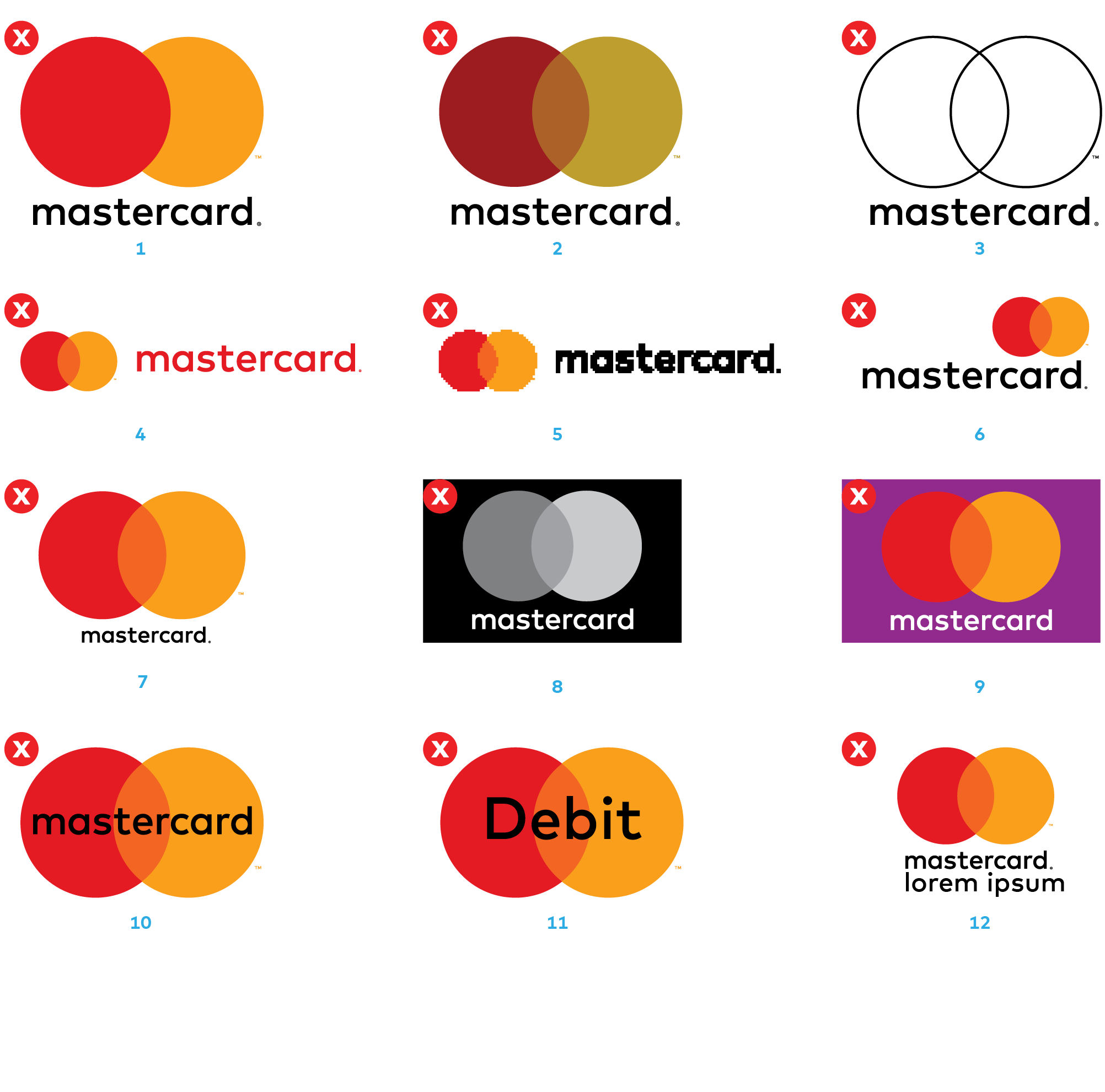 Images of common mistakes made when applying the Mastercard logo